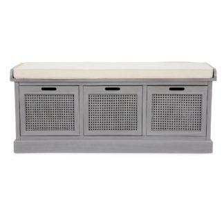 An Image of Lucy Cane Grey Storage Bench Grey