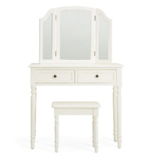 An Image of Lucy Cane Cream Dressing Table Set White
