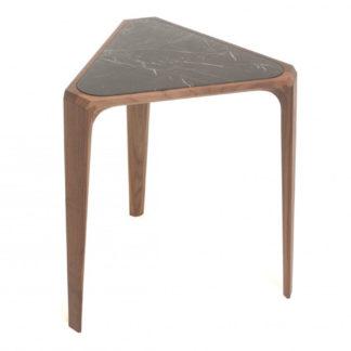 An Image of De La Espada Mary's Side Table Walnut & Black Marble
