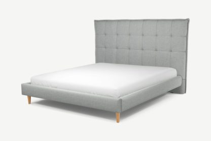An Image of Custom MADE Lamas Super King Size Bed, Wolf Grey Wool with Oak Legs