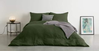 An Image of Brisa 100% Linen Duvet Cover + 2 Pillowcases Double, Moss Green