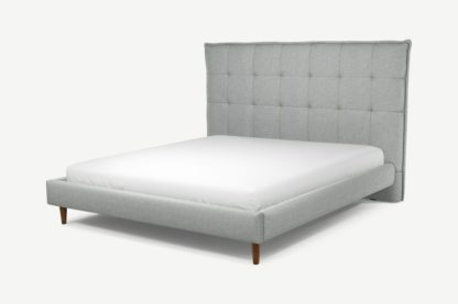 An Image of Custom MADE Lamas Super King Size Bed, Wolf Grey Wool with Walnut Stained Oak Legs