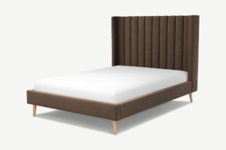 An Image of Custom MADE Cory Double Bed, Mushroom Taupe Cotton Velvet with Oak Legs