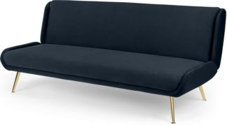 An Image of Moby Click Clack Sofa Bed, Sapphire Blue Velvet