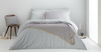 An Image of Alexia Stonewashed Cotton Duvet Cover + 2 Pillowcases, Double, Light Grey UK