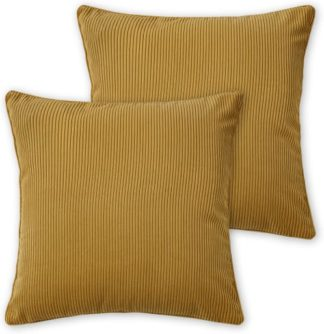 An Image of Selky Set of 2 Corduroy Cushions, 50 x 50cm, Mustard Yellow