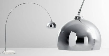 An Image of Bow Large Arc Overreach Floor Lamp, Chrome and White Marble