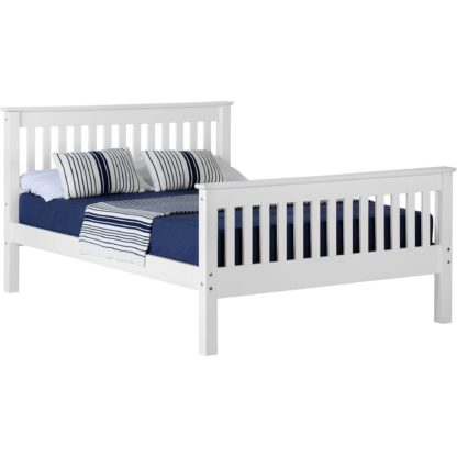 An Image of Monaco White High Foot End Bed Frame White