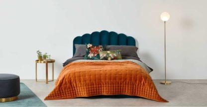 An Image of Syrah 100% Cotton Velvet Bedspread. 225x220cm, Burnt Orange