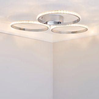 An Image of Oraylia 3 Light Integrated LED Hoops Jewel Chrome Ceiling Fitting Chrome