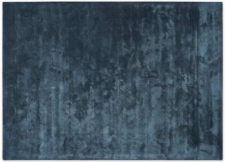 An Image of Merkoya Luxury Viscose Rug, Large 160 x 230cm, Blue Slate