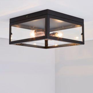 An Image of Aneska 2 Light Black and Copper Flush Ceiling Fitting Black