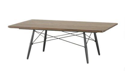 An Image of Vitra Eames Rectangular Coffee Table Black Ash Base Walnut