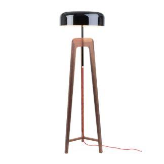 An Image of Porada Pileo Alta Floor Lamp Walnut/ shiny black shade