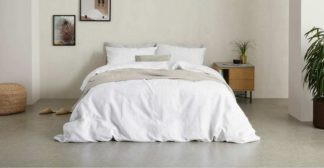 An Image of Tira Linen/Cotton Duvet Cover + 2 Pillowcases, Super King Size, White