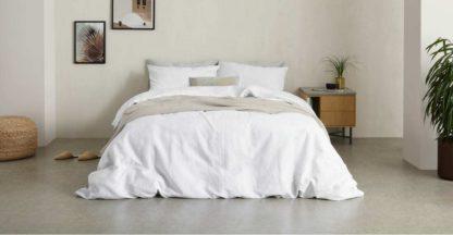 An Image of Tira Linen/Cotton Duvet Cover + 2 Pillowcases, Super King Size, White