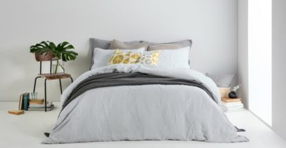 An Image of Brisa 100% Linen Pair of Pillowcases, Silver Grey