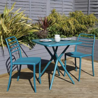 An Image of Plastic 2 Seater Bistro Set Blue
