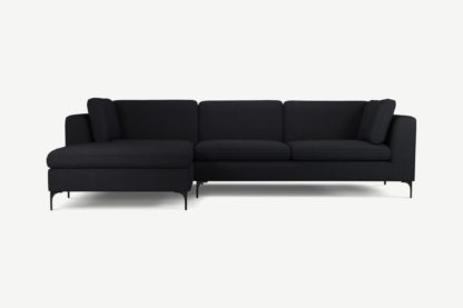 An Image of Monterosso Left Hand Facing Chaise End Sofa, Elite Slate with Black Leg