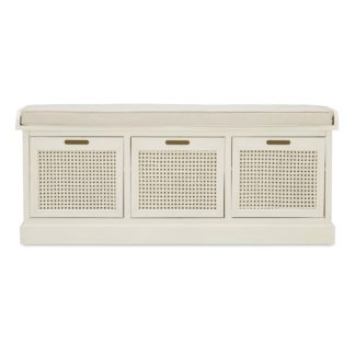 An Image of Lucy Cane Cream Storage Bench Natural (White)