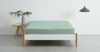 An Image of Brisa 100% Linen Fitted Sheet, King, Soft Green