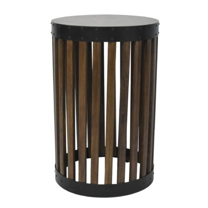 An Image of Farringdon Acacia Drum Side Table Brown