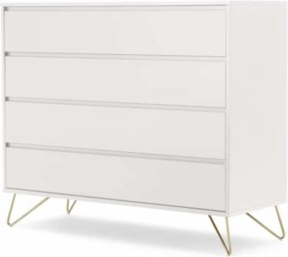 An Image of Elona Chest of Drawers, Ivory White & Brass