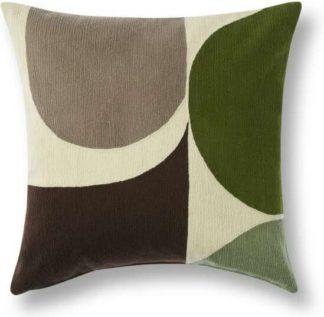 An Image of Zayyan Embroidered Cushion, 45 x 45cm, Green & Grey