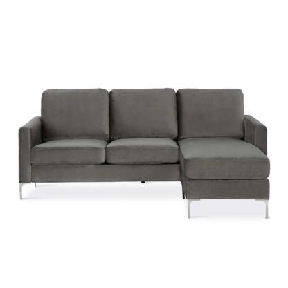 An Image of Chapman Velvet Reversible Corner Sofa Grey