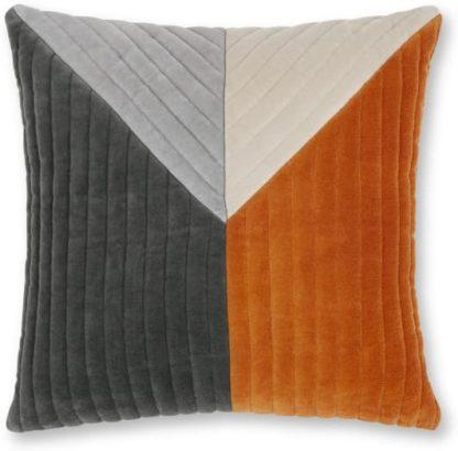 An Image of Balico Velvet Panelled Cushion, 45 x 45cm, Burnt Orange