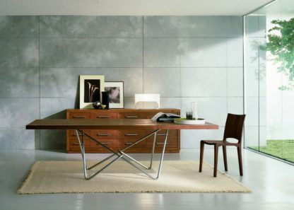 An Image of Riva 1920 Piano Dining Table Walnut