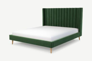 An Image of Custom MADE Cory Super King Size Bed, Lichen Green Cotton Velvet with Oak Legs