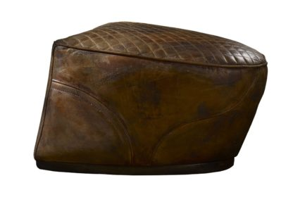 An Image of Timothy Oulton Saddle Footstool Buck'dN Brok'n Leather