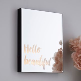 An Image of Hello Beautiful Lit Mirror Light Black