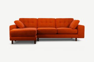 An Image of Content by Terence Conran Tobias, Left Hand facing Chaise End Sofa, Plush Paprika Velvet, Dark Wood Leg