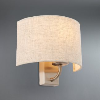 An Image of Preston Ivory Linen Shaded Wall Light Natural