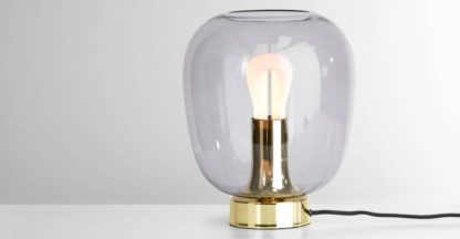 An Image of Temple Table Lamp and 002 Plumen LED Bulb, Brass