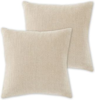 An Image of Adra Set of 2 100% Linen Cushions, 50 x 50cm, Natural