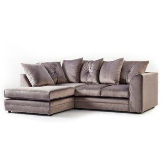 An Image of Blake Left Hand Grey Velvet Corner Sofa Grey