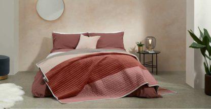 An Image of Giacomo Patchwork Velvet Bedspread, Red & Natural
