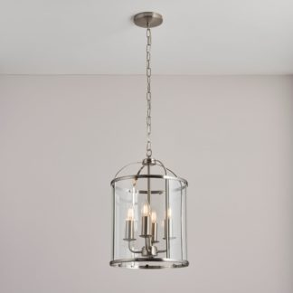 An Image of Endon Lambeth 4 Light Glass Pendant Ceiling Fitting Silver