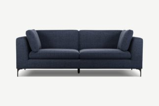 An Image of Monterosso 3 Seater Sofa, Textured Mist Blue with Black Leg