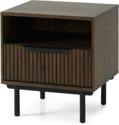 An Image of Anwick Bedside Table, Dark Stain Acacia & Black