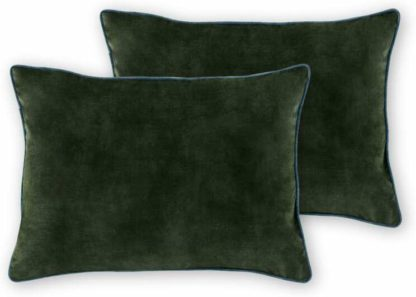 An Image of Castele Set of 2 Luxury Velvet Cushions, 35x50cm, Dark Green with Teal Piping