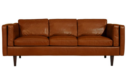 An Image of Heal's Chill 4 Seater Sofa Leather Hide Tobacco Wenge Feet 1
