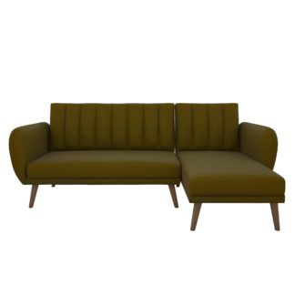 An Image of Brittany Linen Corner Sofa Bed Green
