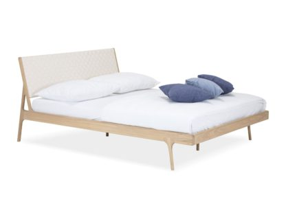 An Image of Gazzda Fawn Double Bed White Webbing With Slats