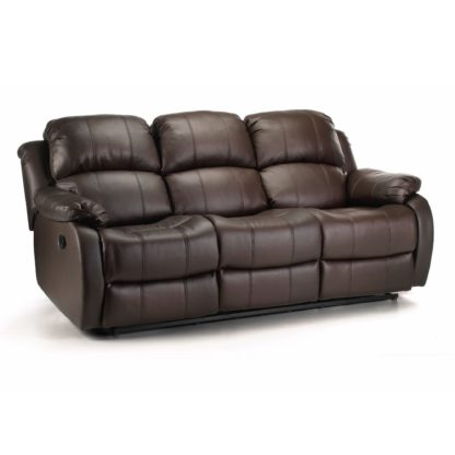 An Image of Anton Bonded Leather Reclining 3 Seater Sofa Black