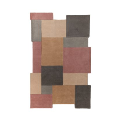 An Image of Collage Wool Rug Pink, Grey and Brown