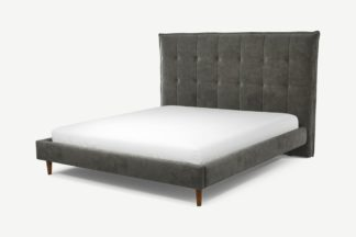 An Image of Custom MADE Lamas Super King Size Bed, Steel Grey Velvet with Walnut Stained Oak Legs